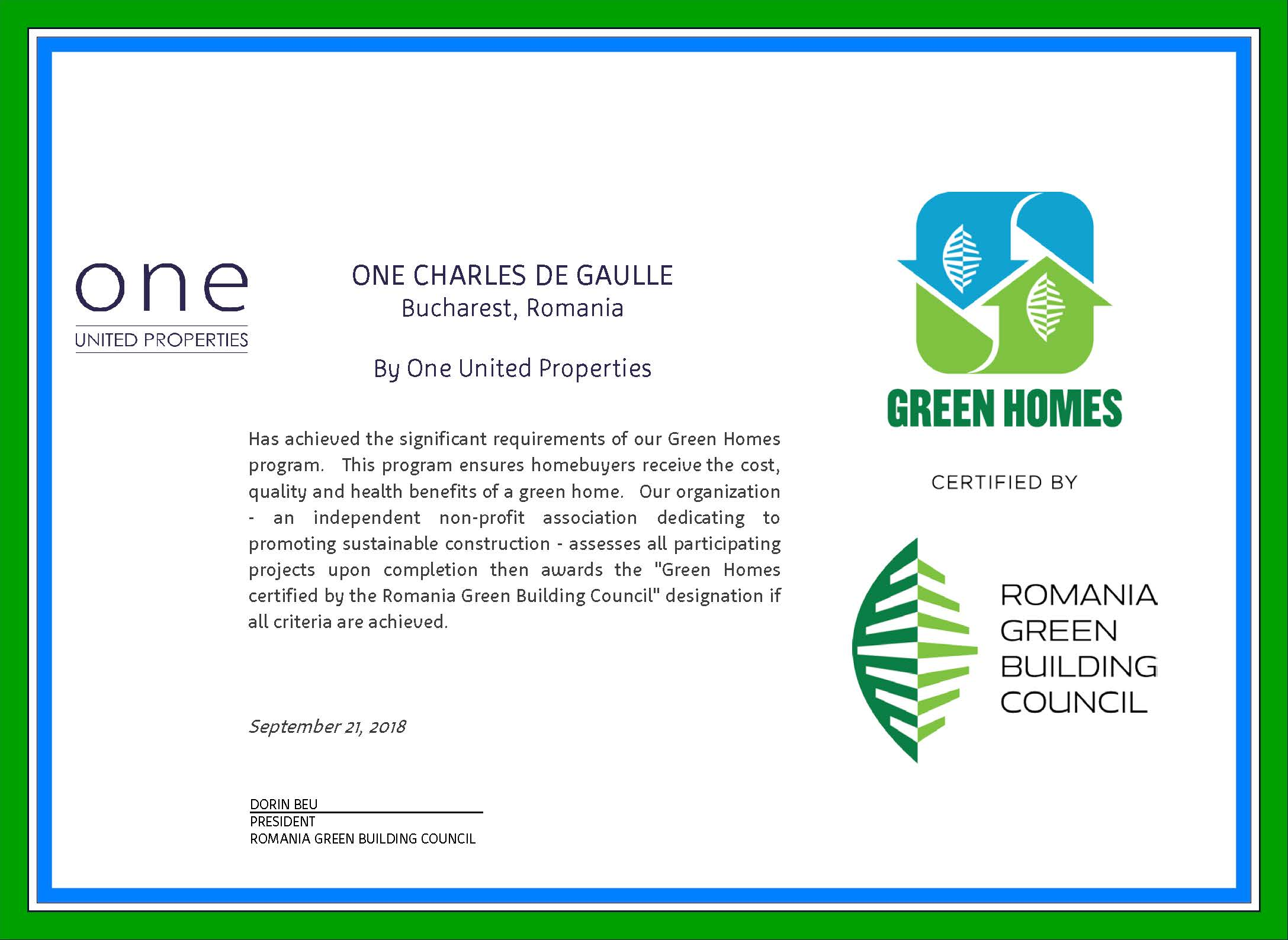Green Home Certification - One Charles de Gaulle
