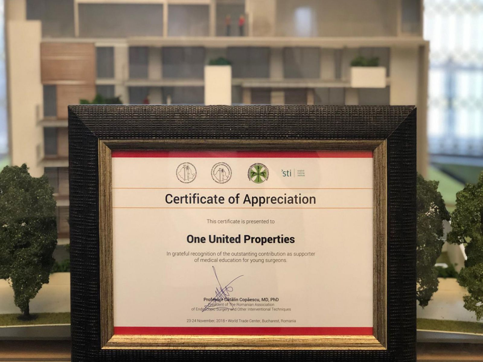 One United Properties to receive the ARCE Certificate of Appreciation