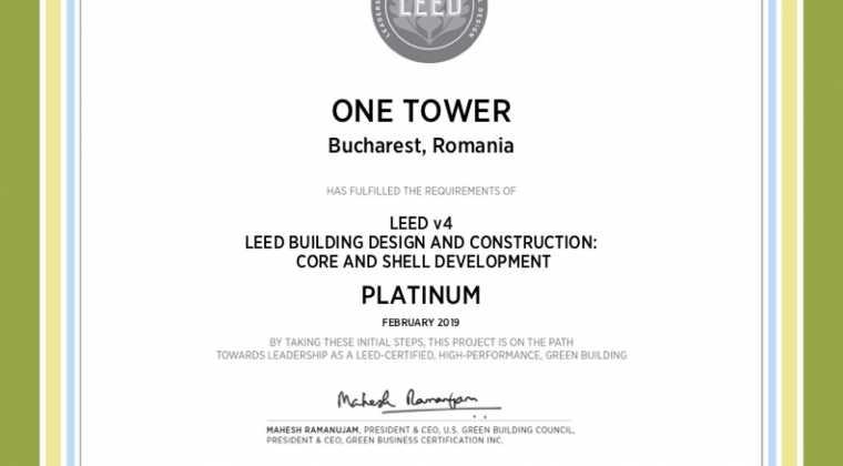 LEED v4 Core & Shell pre-certification Platinum level