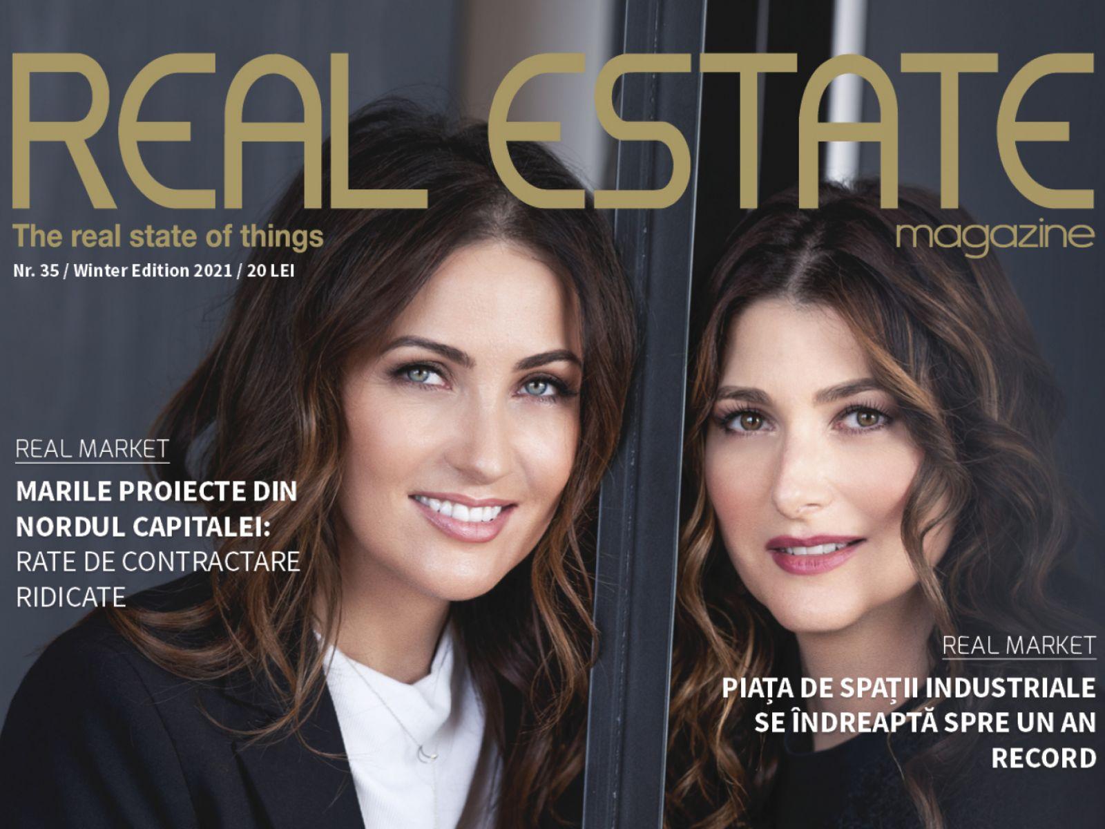 Real Estate Magazine cover featuring Cristina Căpitanu and Elena Oancea, founders of Lemon Interior Design