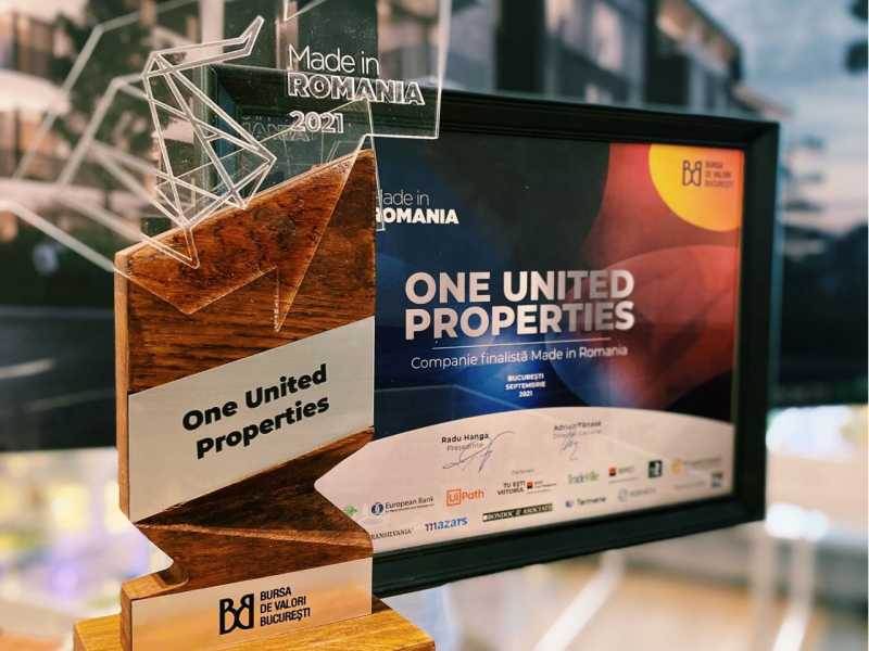One United Properties a fost premiata in cadrul galei Made in Romania a Bursei de Valori Bucuresti.